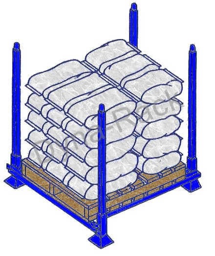 Portable stack rack with pallet.