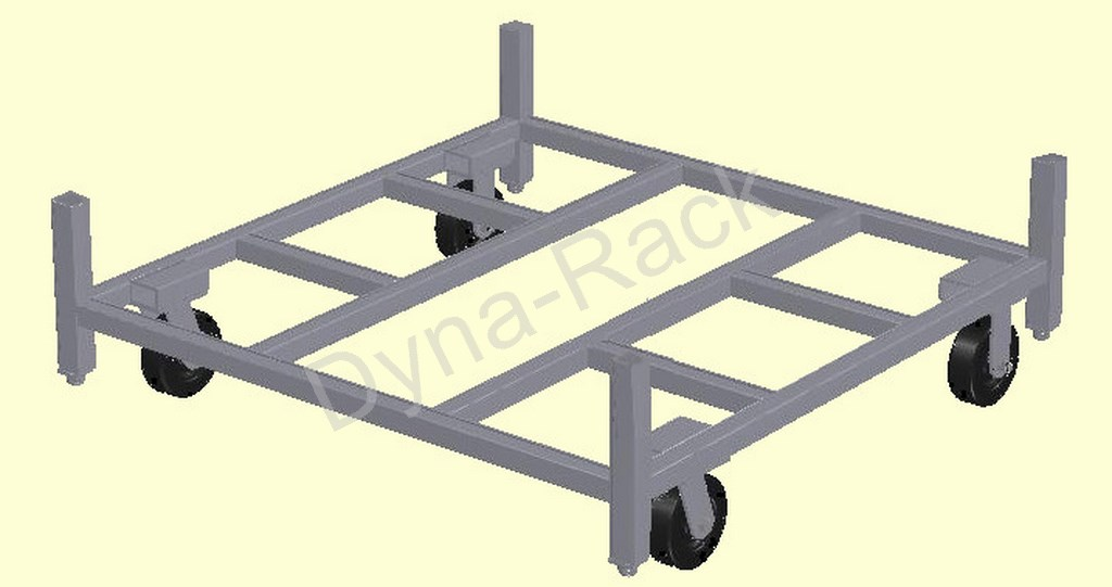 Portable stack rack cart base without post.