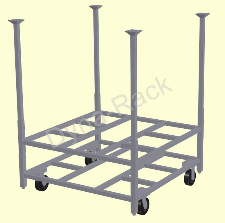 Design 3 portable cart base with stack rack and posts.