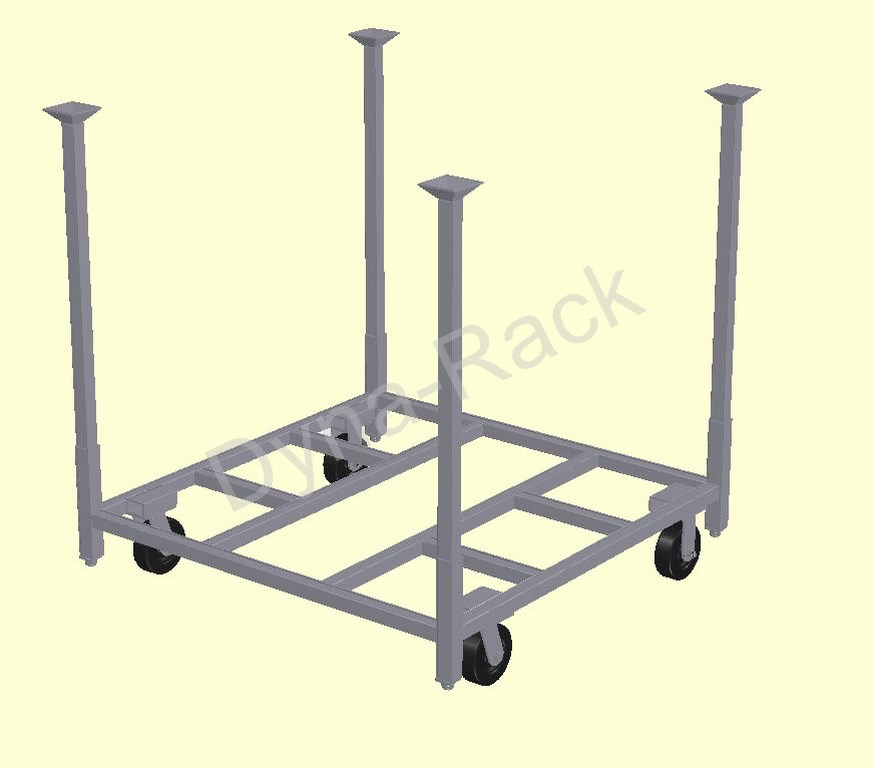 Design 3 portable stack rack cart base with post.