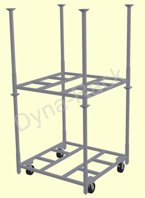 Design 3 stack rack cart with stack rack and posts.